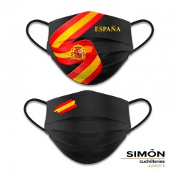 Spain Flag and Shield Reversible Black Mask 121.791