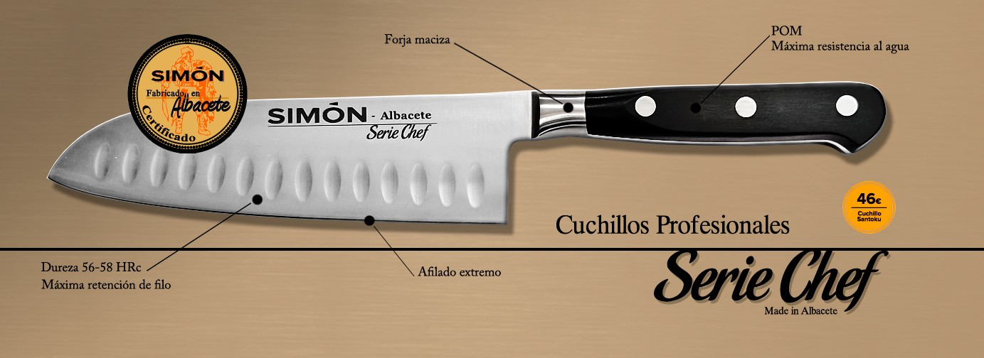 SIMÓN Professional kitchen Knives made in Albacete. MOVA stainless steel, POM scales and 1-piece solid construction
