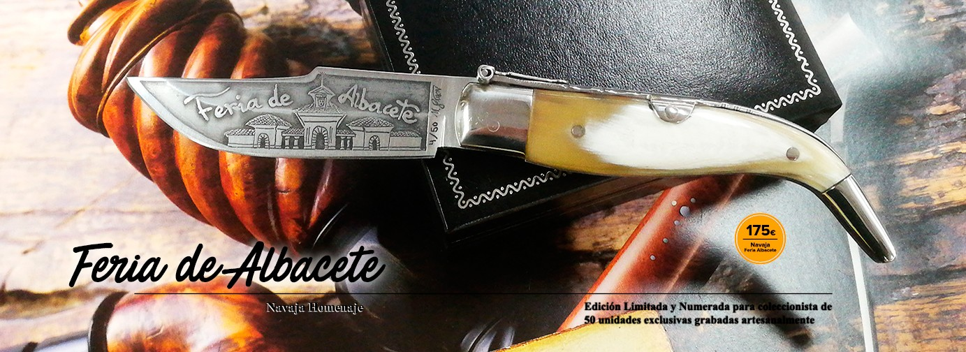 Albacete Fair tribute Classic Knife made of Bull horn scales and customized blade with acid technique by M.Simón