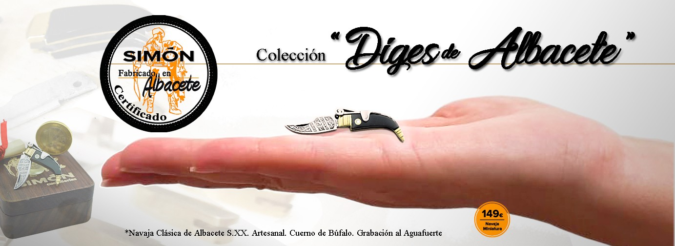 Reproduction of 20th Albacete Handmade Classic Miniature Knife. Buffalo Horn and Camel Bone handle. Decorated with file. Acid engraving. Case and Certificate