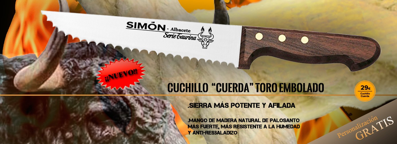 SIMÓN New Version Special Professional Knife to Cut Cord Of Fire Bull with Saw and Rosewood Scales